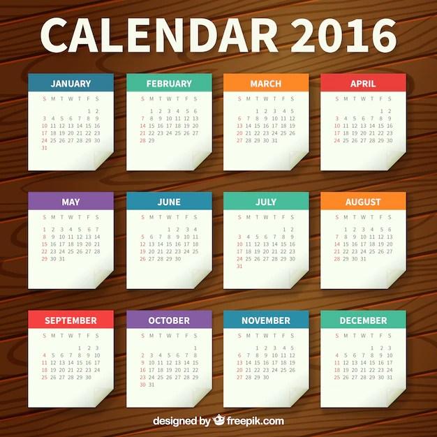 Paper calendar template Vector Free Download