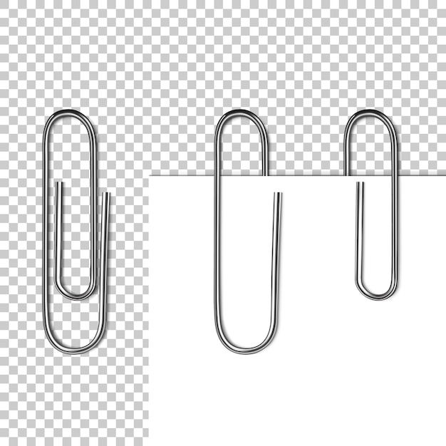 Paper page on clip illustration of 3d realistic metal clip with