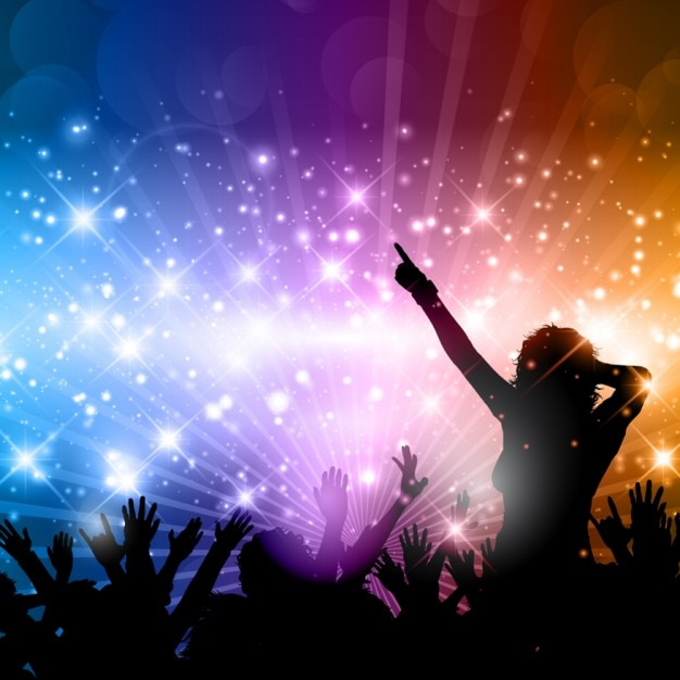 Party background with people silhoettes Vector Free Download