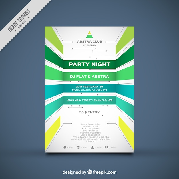 Party brochure template with geometric forms Vector Free Download - party brochure template