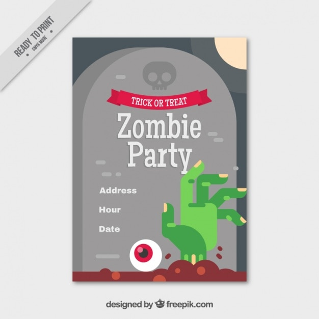 Party brochure template with grave and zombie hand in flat design