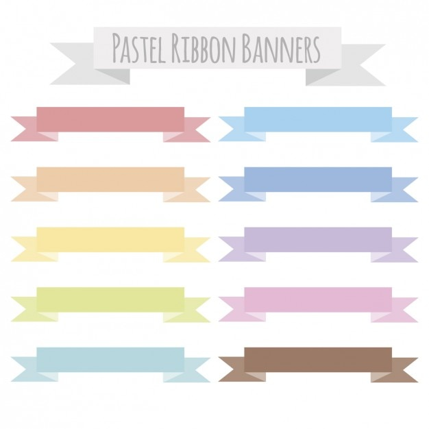 Pastel ribbon banners Vector Free Download