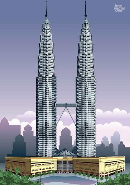 Black White Square Wallpaper Petronas Twin Towers Skyscrapers Vector Vector Free Download