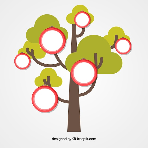 Photo collage template with flat tree Vector Free Download