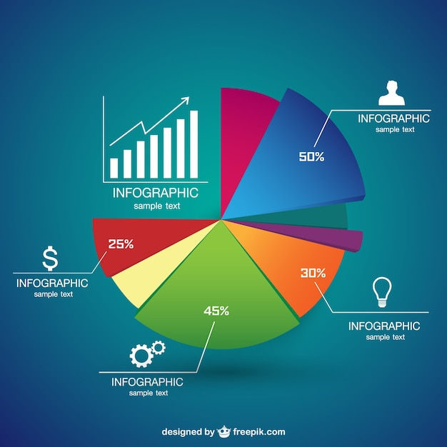 Pie chart infographic Vector Free Download - pie chart templates