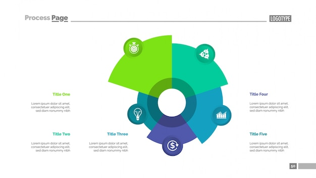 Pie Chart with Five Elements Template Vector Free Download - pie chart templates