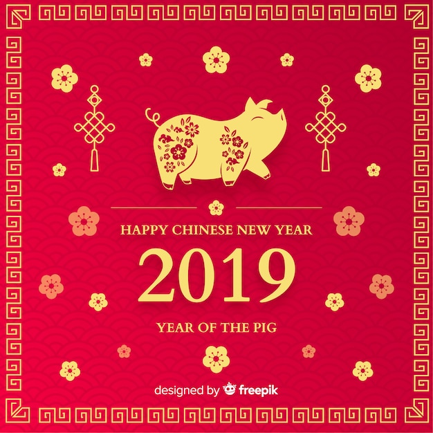 Pig chinese new year background Vector Free Download