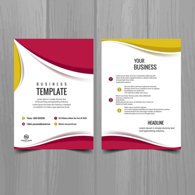 Pink and yellow brochure design Vector Free Download - free pamphlet design