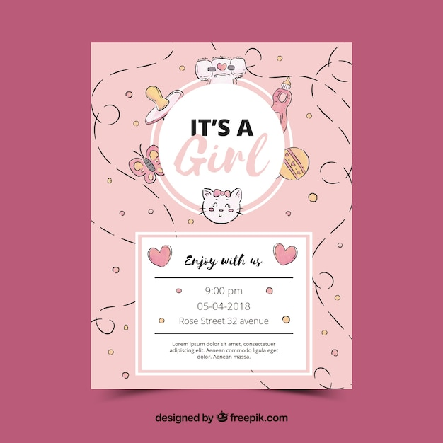 Pink baby shower invitation template Vector Free Download