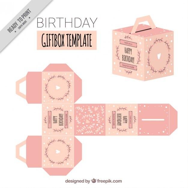 Pink birthday giftbox template Vector Free Download - gift box templates free download