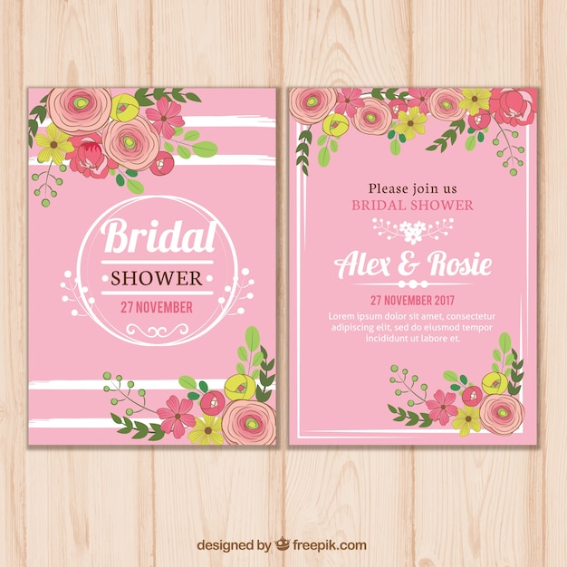 Pink bridal shower invitation template with floral decoration Vector - bridal shower invitation templates download
