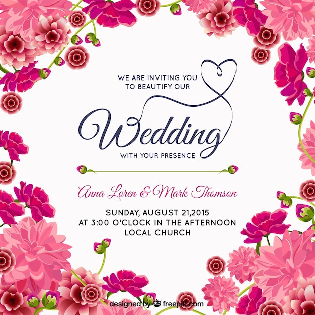 Pink floral wedding invitation Vector Free Download - create invitation card free download