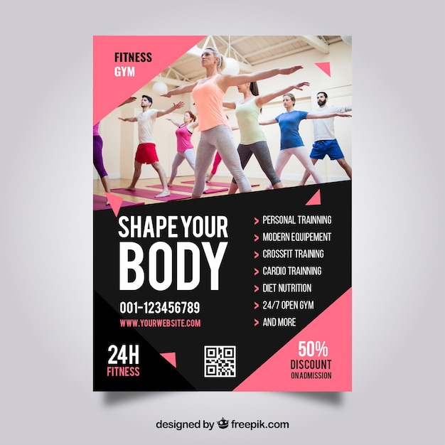 Pink gym flyer template Vector Free Download