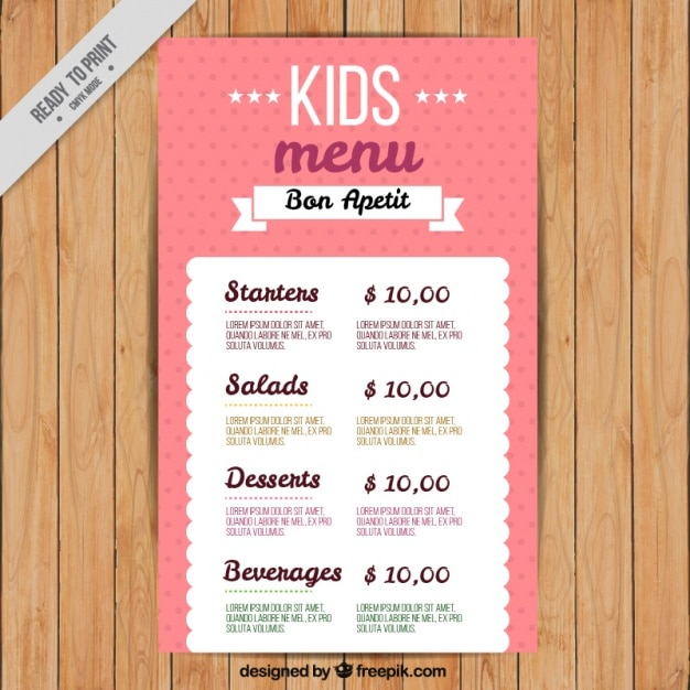 free kid menu template - Onwebioinnovate