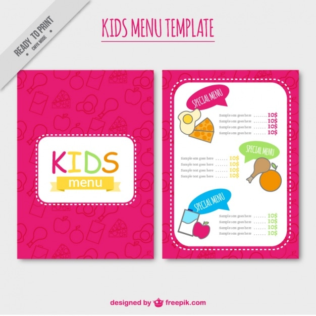 Pink kids\u0027 menu template Vector Free Download