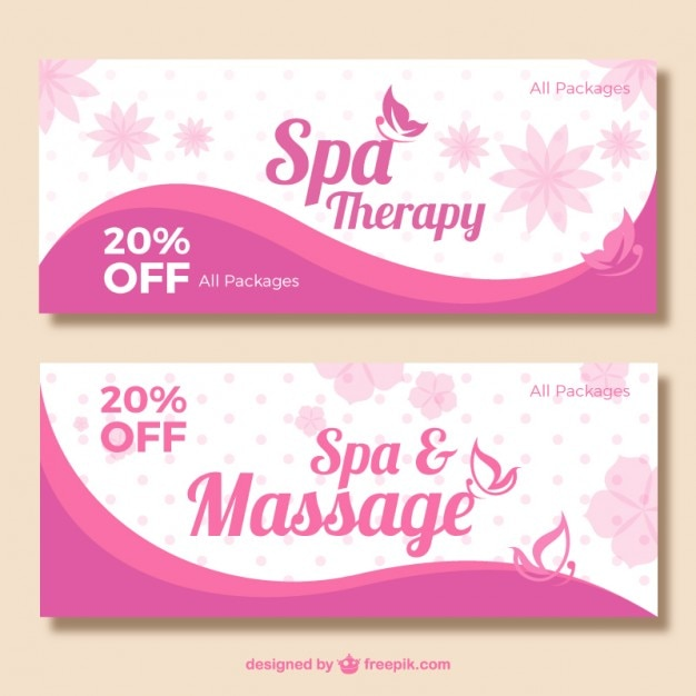 Pink spa banners Vector Free Download