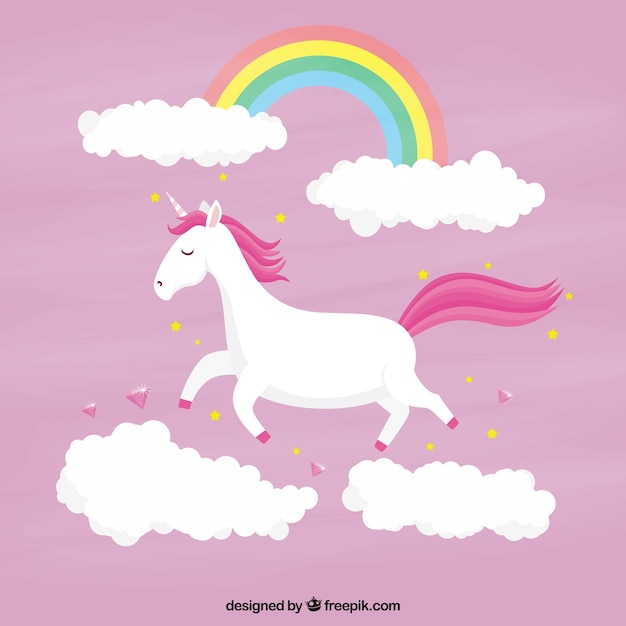 Cute Wallpaper With Quotes Download Pink Unicorn Background With Clouds And Rainbow Vector