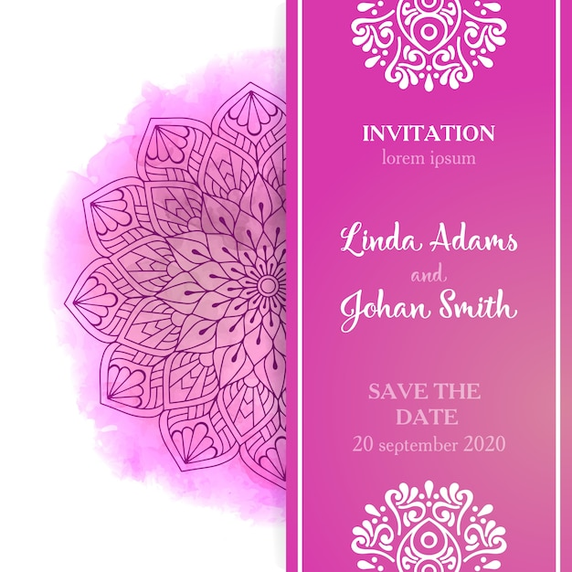 Pink wedding invitation template Vector Free Download - free download invitation templates