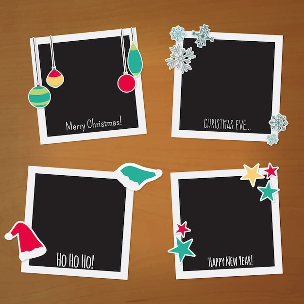 Polaroid christmas frames Vector Free Download