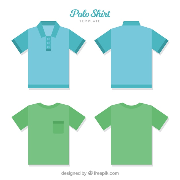 Polo shirt template with bottons and pocket Vector Free Download