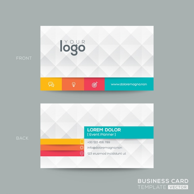 Polygonal business card with 3d effect Vector Free Download - Buisness Card Template