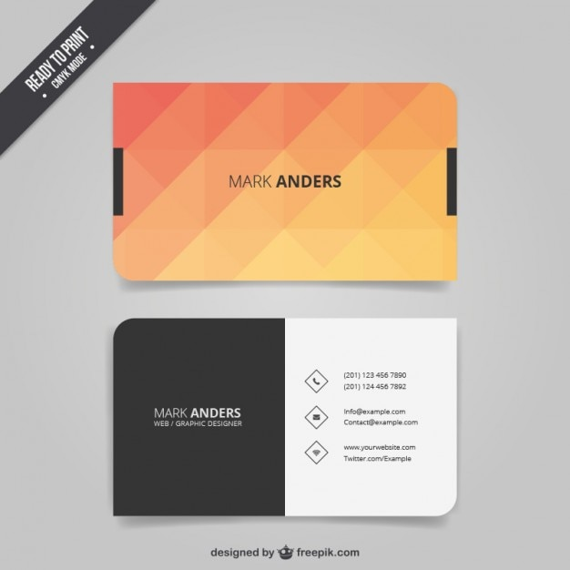 Polygonal business card Vector Free Download