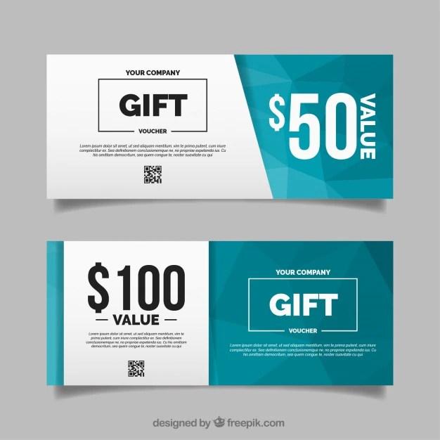 Polygonal gift voucher in flat design Vector Free Download