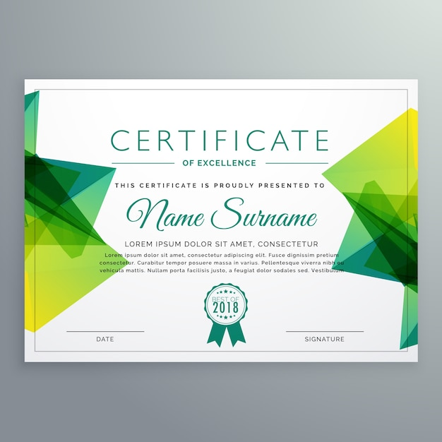 Polygonal green achievement certificate template Vector Free Download - Certification Templates