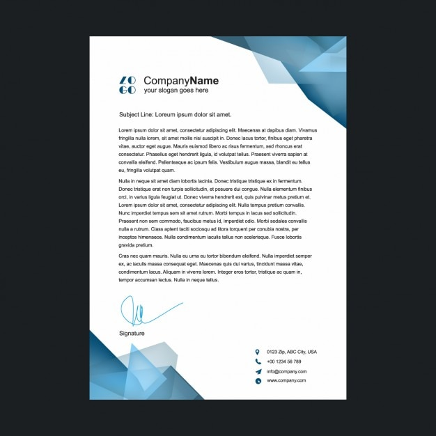 Polygonal shapes letterhead design Vector Free Download
