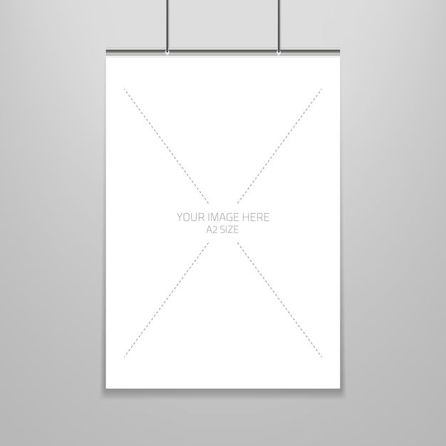 Poster template of a blank paper sheet in frame Vector Free Download - blank sheet of paper with lines