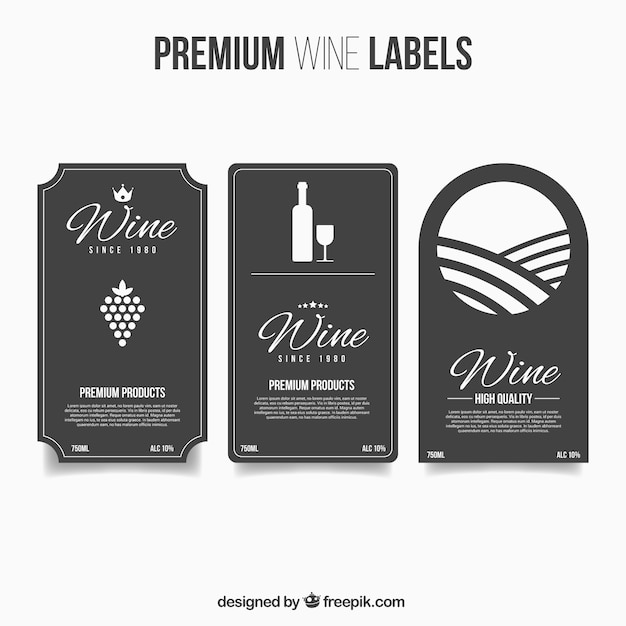 Premium wine labels in flat style Vector Free Download