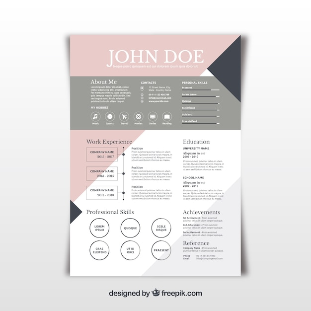 Pretty abstract resume template Vector Free Download