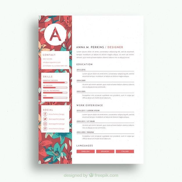resume illustrator template download