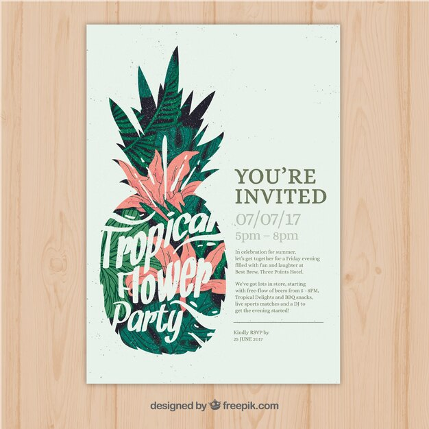Pretty vintage tropical party invitation with pineapple Vector