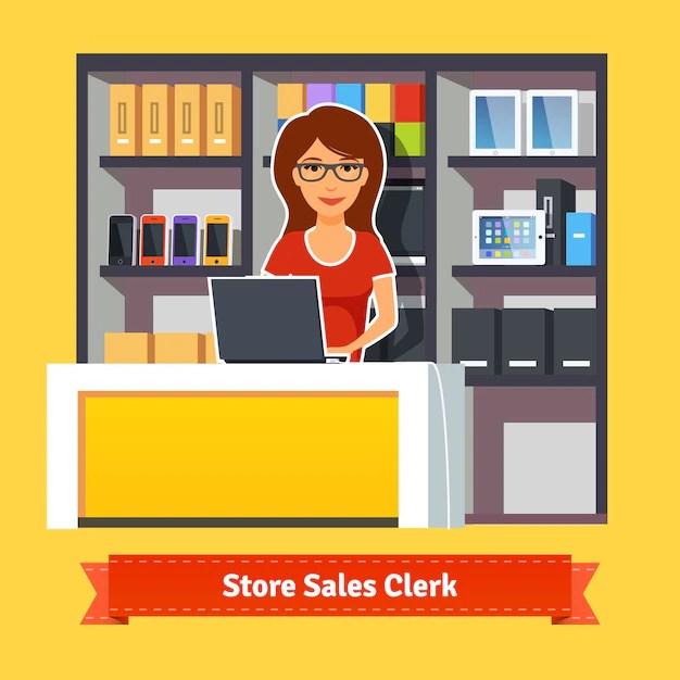 Pretty woman shop assistant Vector Free Download