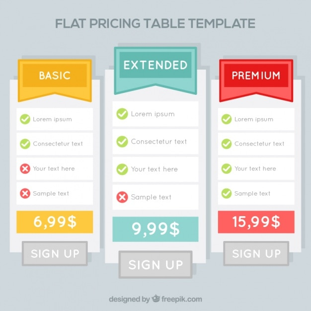 Price tables templates in flat design Vector Free Download
