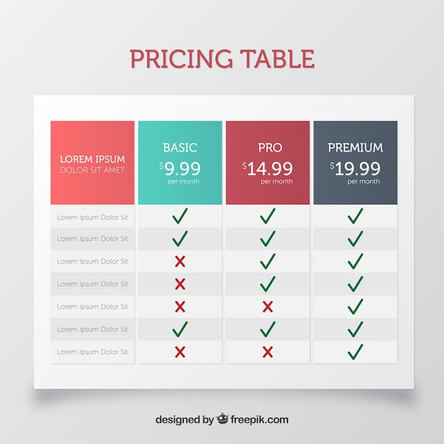 Pricing table template in flat design Vector Free Download - pricing table templates