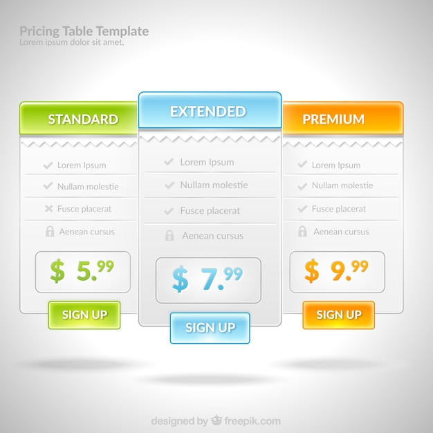 Pricing table template Vector Free Download
