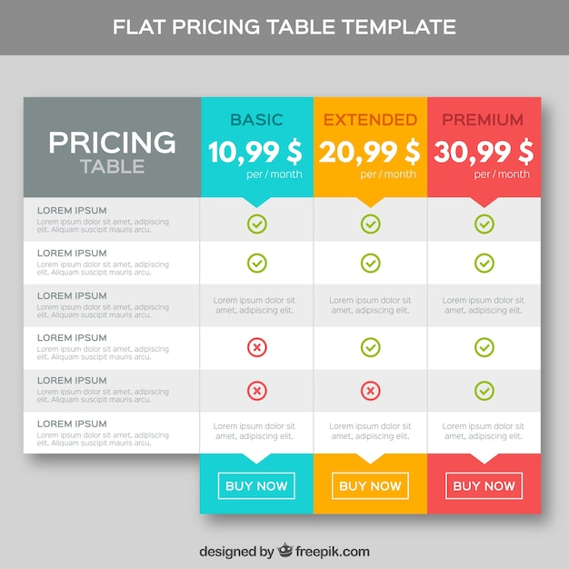 Pricing tables template in flat design Vector Premium Download