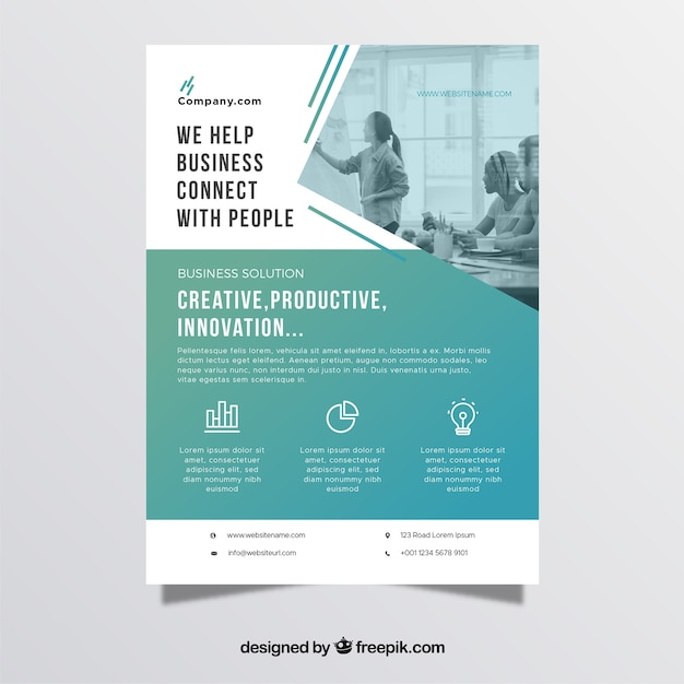 Professional business flyer template Vector Free Download