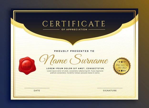 Professional diploma certificate template design Vector Free Download