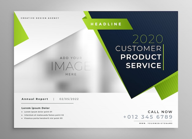 Professional green business brochure design Vector Free Download