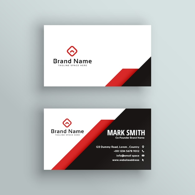 Professional red and black business card design Vector Free Download