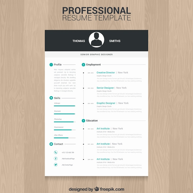 Professional resume template Vector Free Download - It Professional Resume Template