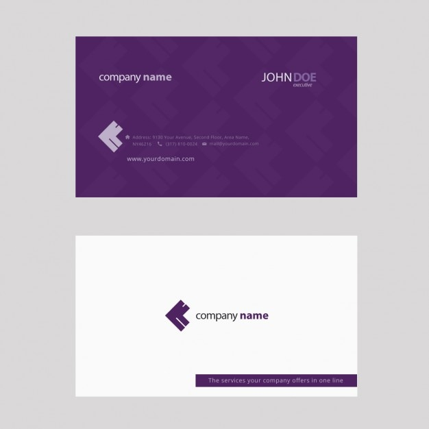 Purple business card Vector Free Download