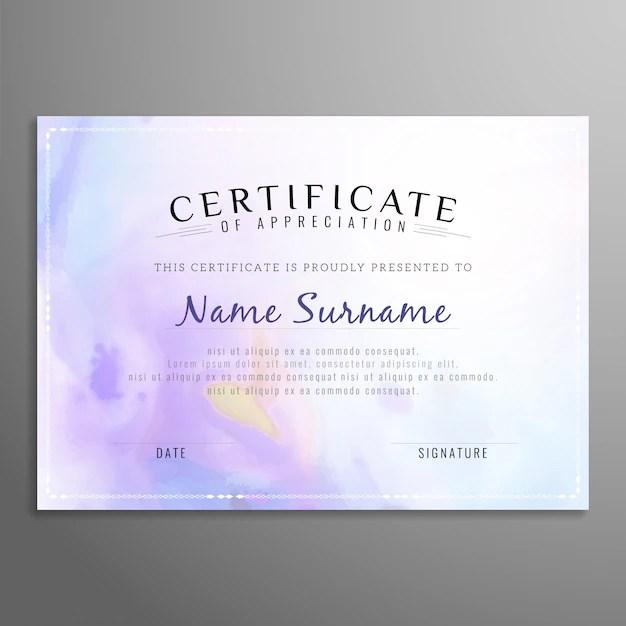 Purple certificate of appreciation template Vector Free Download - certificate of appreciation templates free download
