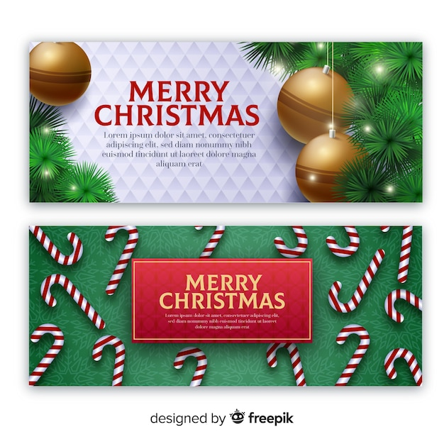 Realistic elements christmas banner template Vector Free Download