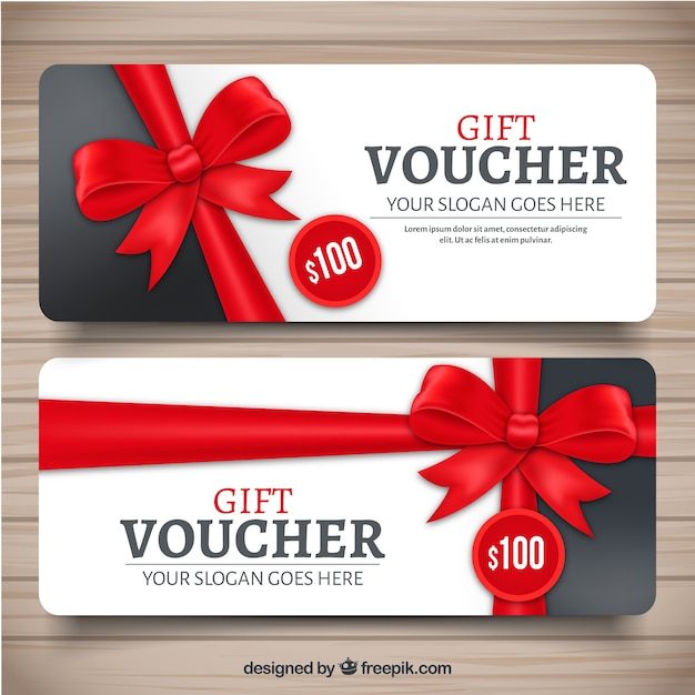 Realistic gift voucher with red decorative bow Vector Free Download - prize voucher template