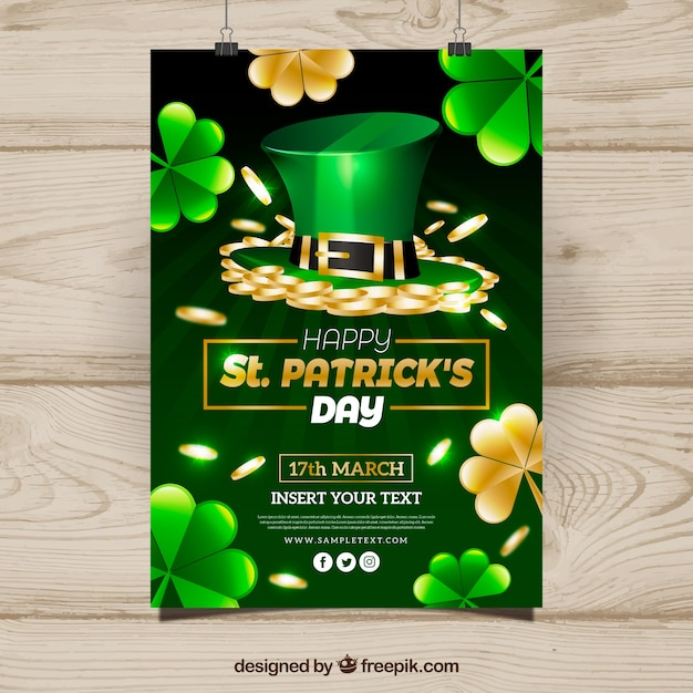Realistic st patrick\u0027s day flyer/poster Vector Free Download