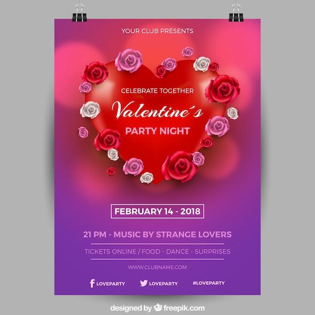 Realistic valentine\u0027s day flyer/poster template Vector Free Download